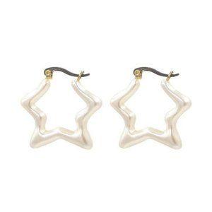 Handmade Pearl Color star Hoop Earrings